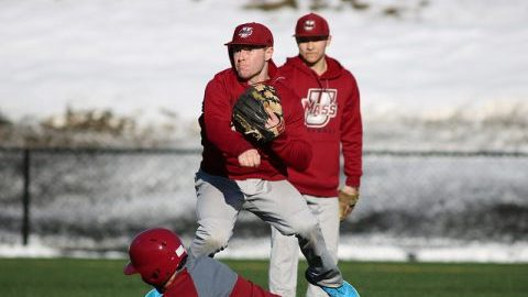 Baseball practice on Garber Field Feb. 17. Photo by Jessica Picard/Daily Collegian)