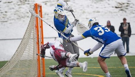 Noah Rak dominates in the faceoff circle in UMass men's lacrosse's 9-6 win over Delaware
