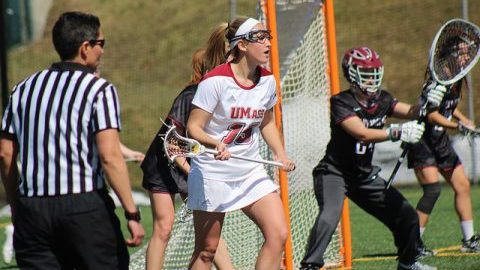 Hannah Burnett (19). UMass Women's Lacrosse plays St. Joseph's on April 2, 2017 at Garber Field. Photo by Caroline O'Connor/Daily Collegian)