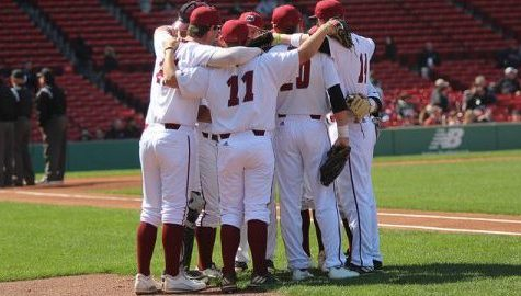 Men's Baseball against Northeastern U. in the Beanpot Tournament at Fenway Park, Boston on April 19, 2017. Caroline O'Connor/Daily Collegian)