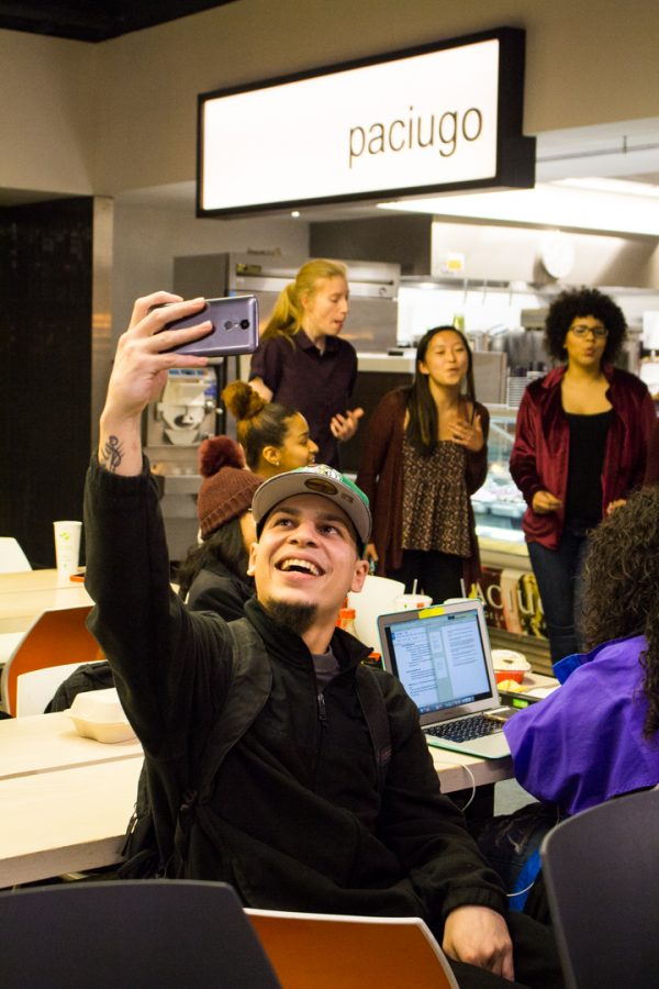 S#arp Attitude, an all female a cappella,   entertains a group of friends as a part of their Valentines Day fundraiser on Tuesday, February 13, 2018. Photo by Jon Asgeirsson