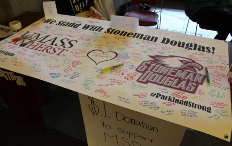 Graduates of Marjory Stoneman Douglas High School show support at UMass