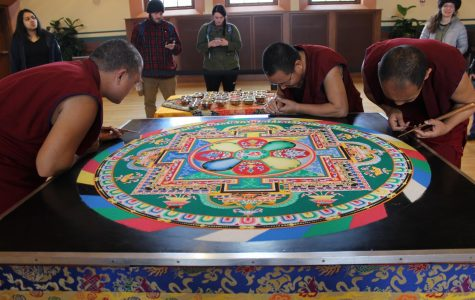 Tibetan monks bless UMass through the creation of sand mandalas