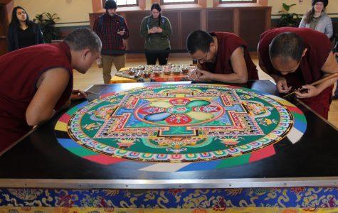 Tibetan monks bless UMass through the creation of sand mandalas