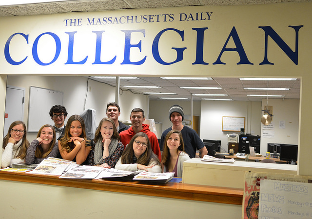 the staff of the Massachusetts Daily Collegian in a group pic