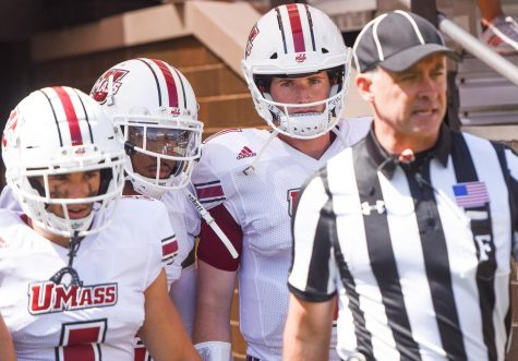 UMass quarterback Austin Whipple continues to work with starters in Frohnapfel's absence