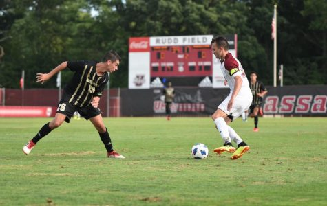 UMass men's soccer scores three late goals in shutout win over Bryant