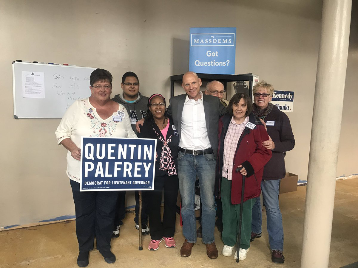 Quentin Palfrey posed with member of the Orange Democratic Town Committee on Oct. 14. (Courtesy of Quentin Palfrey's official Twitter, @qpalfrey)