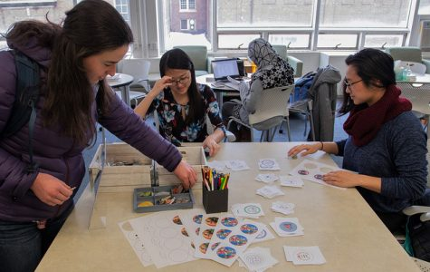 Off Campus Student Center hosts button making event for 'Galentine's Day'