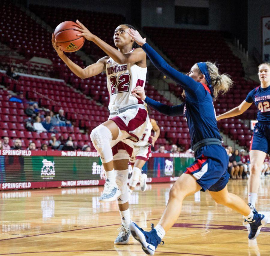 Late comeback falls short as UMass women's basketball falls 55-54 to Saint Joseph's