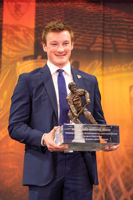 Cale+Makar+accepts+the+Hobey+Baker+award+at+Harborcenter+in+Buffalo%2C+NY+on+Friday%2C+Apr.+12%2C+2019.+Photo+by+Jon+Asgeirsson.