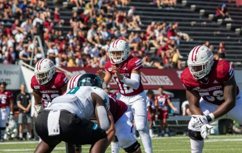 After rough start to the season, young offensive line starting to settle in for UMass football
