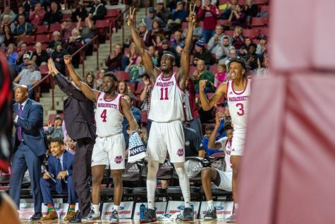 Hawks soar past Minutemen Saturday, 67-64