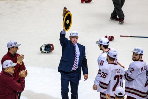 With a national championship win, Greg Carvel completes improbable turnaround of UMass hockey